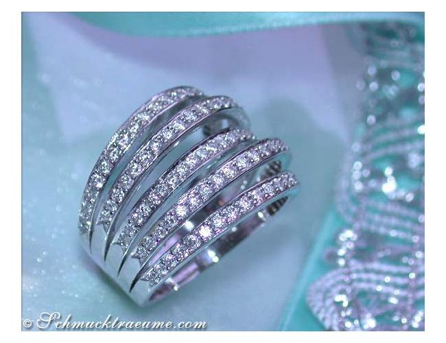 Huge Five Row Diamond Ring