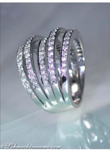 Huge Multi Row Diamond Ring in White gold 18k
