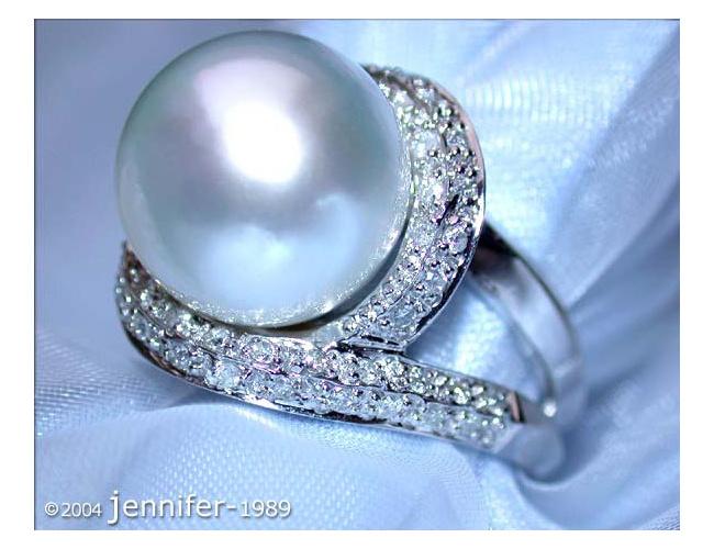 Stattlicher Südseeperle Ring mit Brillanten in Weißgold