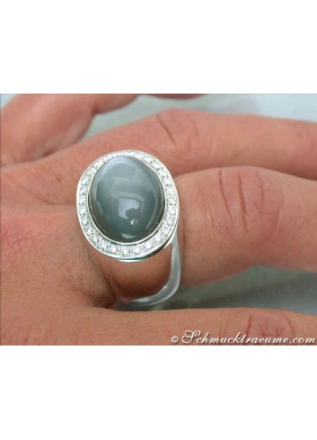 Heavy Moonstone Ring with Diamonds