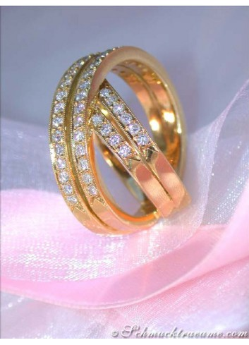 Crossover Diamond Ring in Yellow gold 18k
