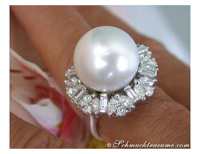Südseeperle Ring mit Brillanten & Diamanten