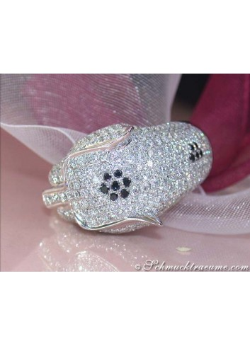 Huge Diamond Panther Ring