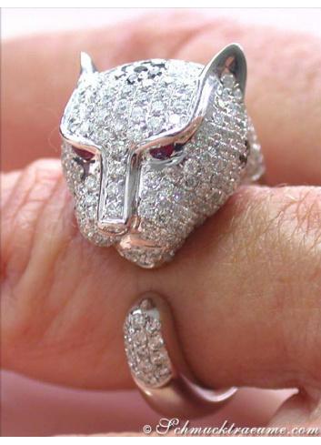 Brillanten Panther Ring in Weißgold 750