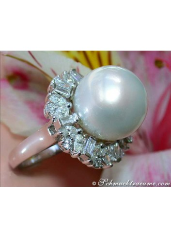 Superb Southsea Pearl Ring with Diamonds