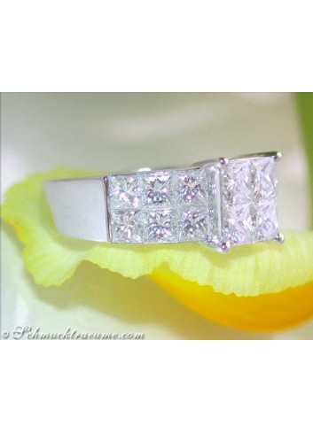 Princess Diamanten Ring in Weißgold 750