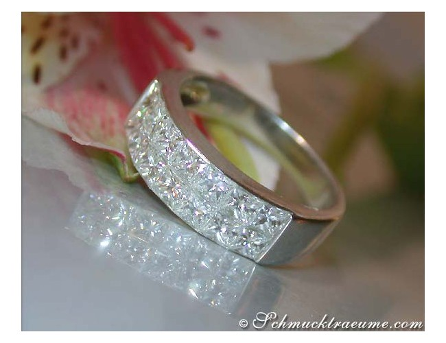 Princess Diamant Ring in Weißgold 750