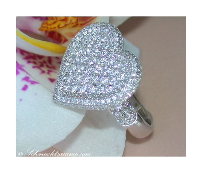 Opulent Diamond Heart Ring