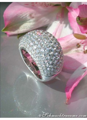 Heavy Diamond Pave Ring in White gold 18k