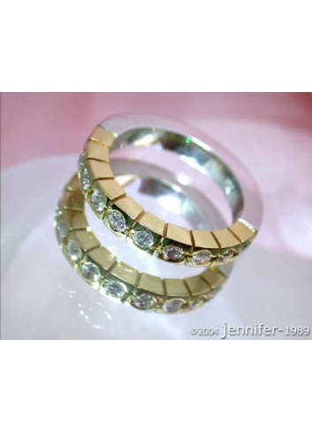 Diamanten Memory Ring in Gelbgold & Weißgold 750
