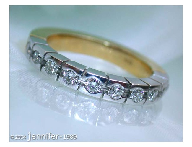 Heavy Diamond Eternity Band in White & Yellow Gold 18k