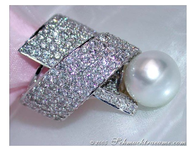Huge Southsea Pearl Diamond Ring