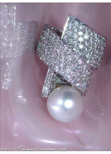 Opulent Southsea Pearl Ring with Diamonds