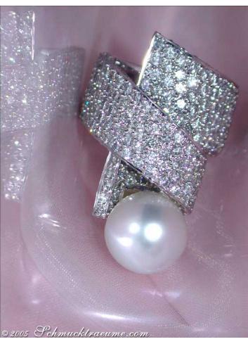 Südseeperle Ring mit Brillanten