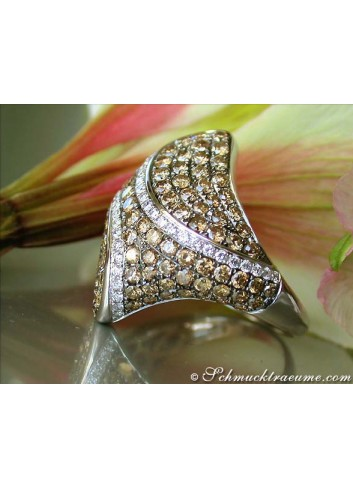 Impressive Brown & White Diamond Ring