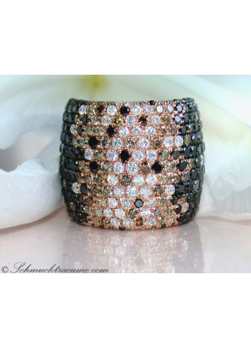 Huge Ring with Black, White & Natural Brown Diamonds
