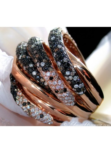 Opulenter Ring mit schwarzen Diamanten, naturbraunen & weißen Brillanten