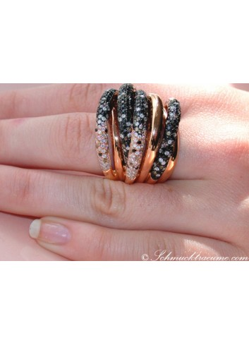 Opulent ring with black, natural brown & white diamonds