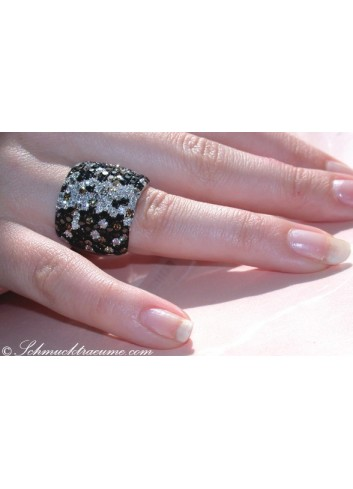 Magnificent Ring with Black, Natural Brown & White Diamonds