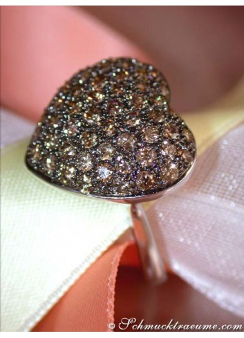 Cute Brown Diamond Heart Ring
