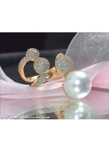 Tremendous Southsea Pearl Diamond Ring