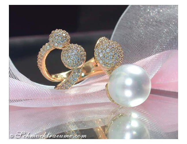 Tremendous Southsea Pearl Ring with Diamond Pave Balls