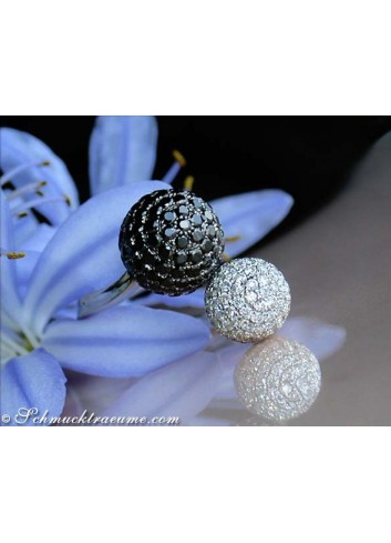 Pave Ball Ring with Black & White Diamonds