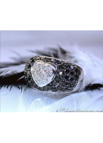 Herz Ring mit schwarzen Diamanten & Brillanten