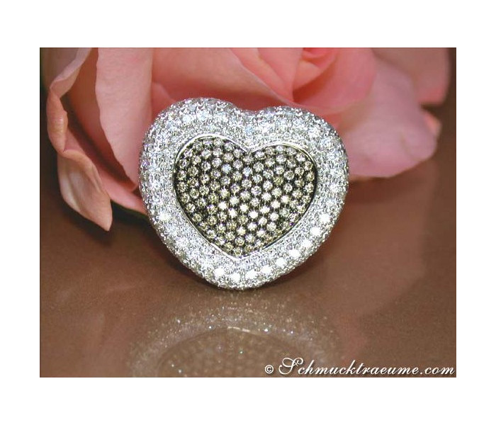Terrific Heart Ring with Natural Brown & White Diamonds