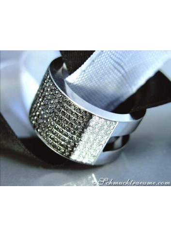 Plain Black & White Diamond Band