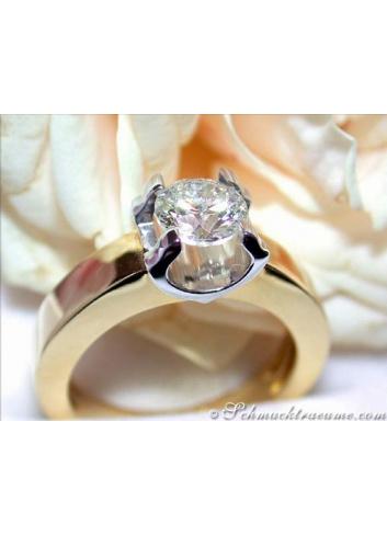 Diamant Solitär Ring Einkaräter Verlobungsring
