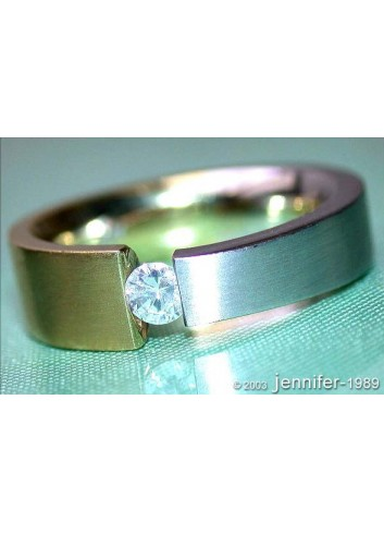 Minimalist Diamond Solitaire Ring (Two Tone Finish)