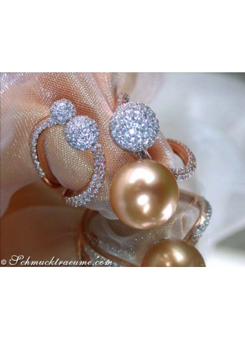 Wonderful Golden Southsea Pearl Ring with Diamonds