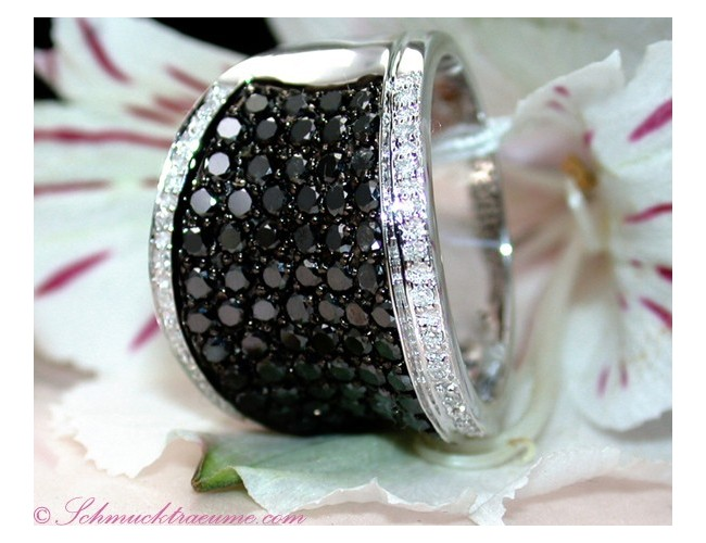 Attractive Black & White Diamond Ring