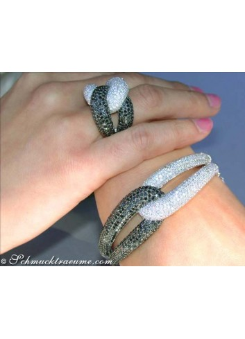 Schwarze Diamanten & Brillanten Ring