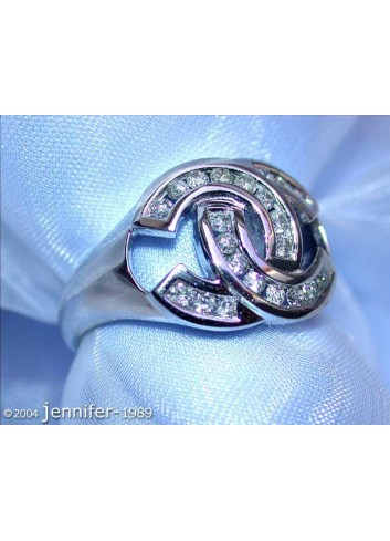 Double C Diamond Ring in White gold 14k