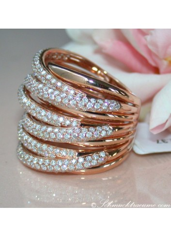 Huge Multi Row Diamond Ring in Rose gold 18k