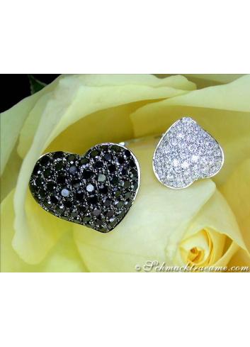 Herz Ring mit schwarzen Diamanten