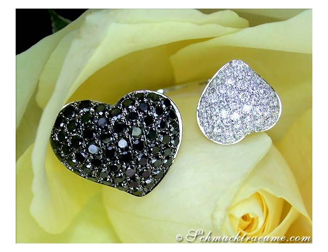 Feminine Black & White Diamond Heart Ring