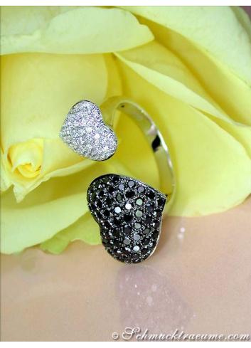 Feminine Black & White Diamond Heart Ring
