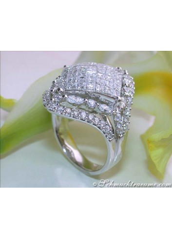 Brillanten Ring mit Marquise und Princess Diamanten