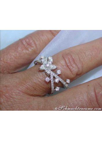 Feminine Diamond Ring in a Blossom Design