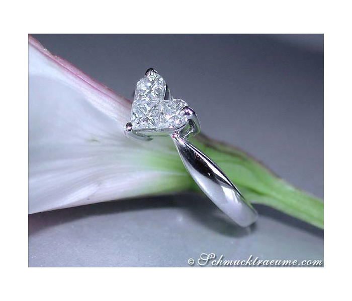 Delicate diamond heart ring