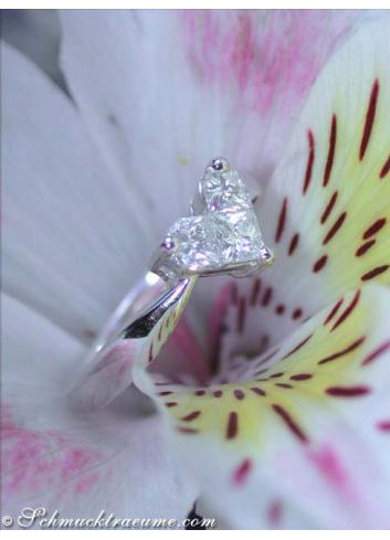 Delicate diamond heart ring