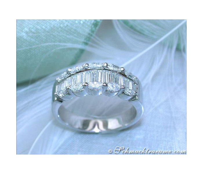 Elegant Marquise & Taper Cut Diamond Ring