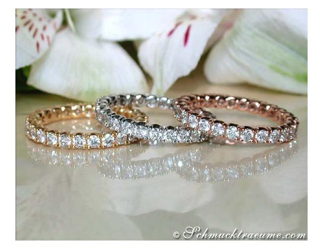 Three timeless diamonds eternity rings