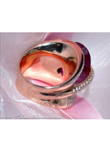 Oversized Rubellite Ring with Diamonds