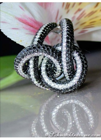 Entwined Black & White Diamond Ring