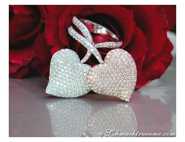 Exquisite Double Heart Diamond Ring in White & Rose Gold 18k
