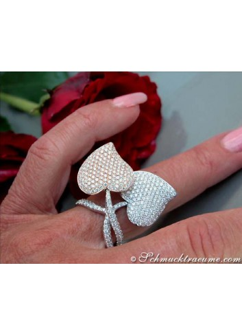 Exquisite Double Heart Diamond Ring